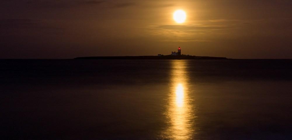 Golden Moonrise over Coquet Island