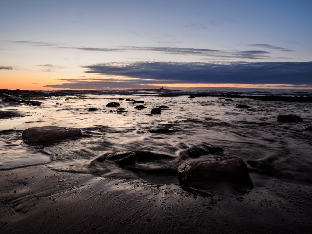 Test shot of the OM-D E-M1 Mark I of Coquet Island at dawn.