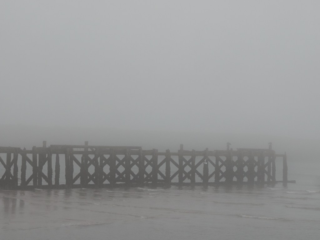 North Pier, shrouded in fog