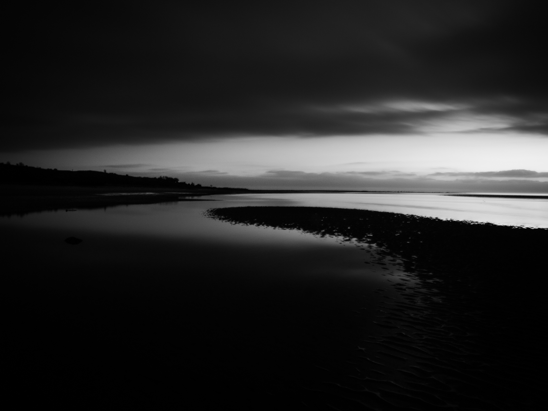 Dawn image of the beach in monochrome