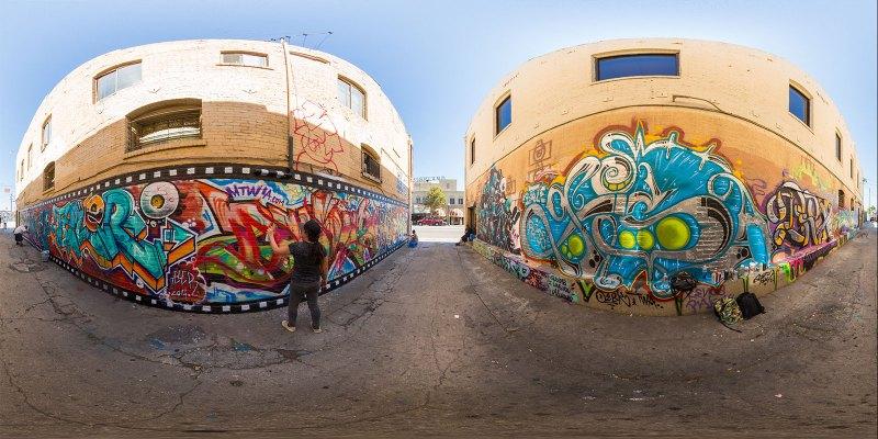Graffiti murals in Highland Park, Los Angeles, California. Photo by Jim Newberry.