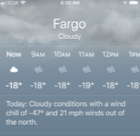 Screenshot of weather app that shows -18 degrees F