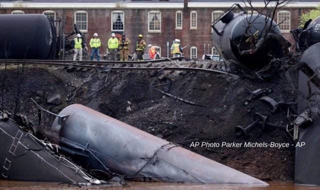Associated Press photo of Bakken crude oil train derailment