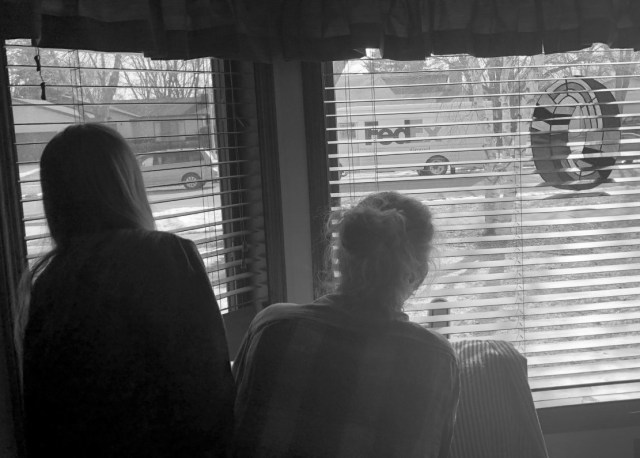 Photo of people looking out window at FedEx truck.
