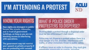 Image of ACLU flyer on peaceful protesters' rights #BlackLivesMatter