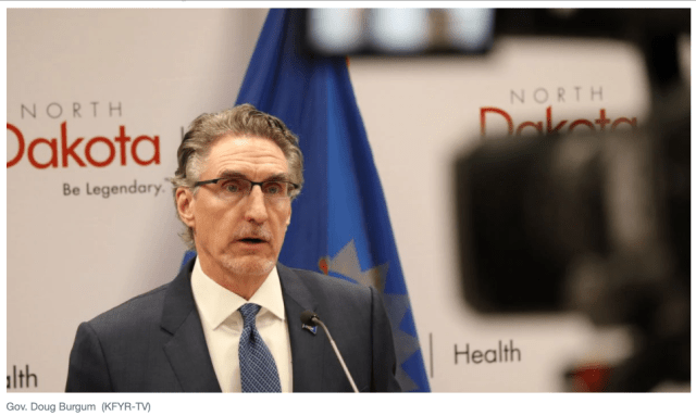 KFYR-TV image of ND Gov Doug Burgum for school reopening story