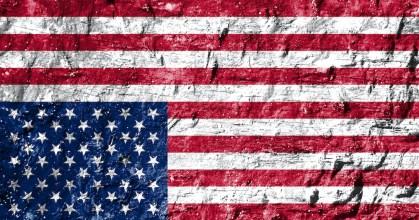 Graphic of upside-down U.S. flag, representing patriotism that's upside-down. original by Dragana Stojanovic