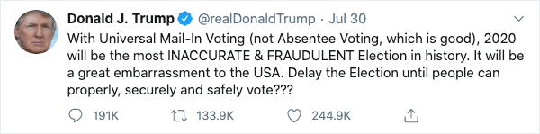 Donald Trump Tweet about delaying election