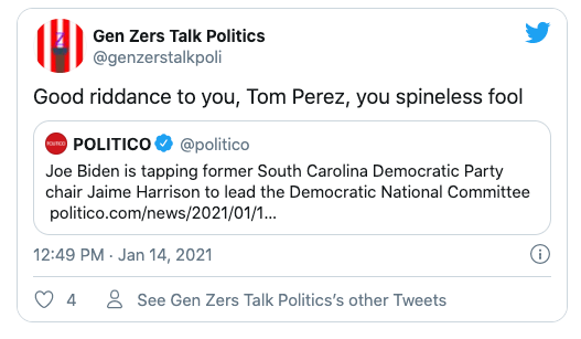 @genzerstalkpoli Twitter post about the ouster of Tom Perez
