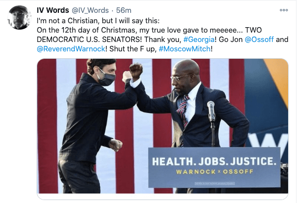 Screen shot of IV Words Twitter post featuring Senators-Elect Ossoff and Warnock