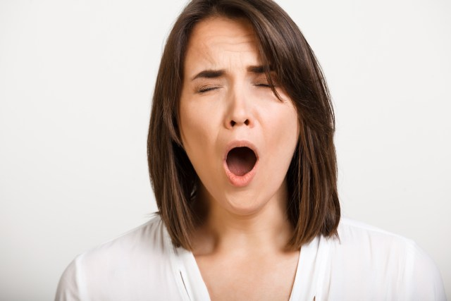 Picture of woman yawning