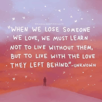 A graphic meme with a quote about grief