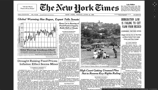 Front page of The New York Times, June 24, 1988