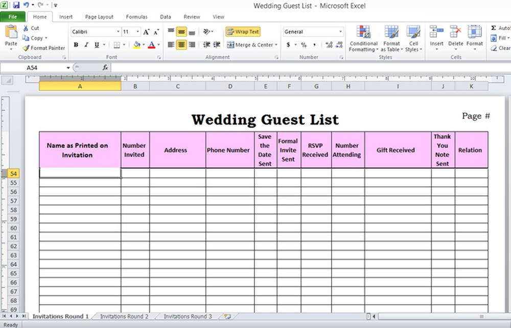 wedding invite spreadsheet