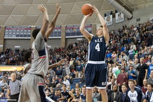 Jack Montague drills a game-winning three-point shot at then-defending national champion UConn on Dec. 5, 2014.