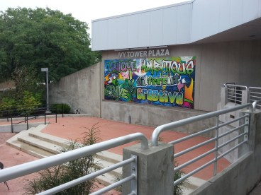 Ivy Plaza between Student Life Center and Harshman Hall
