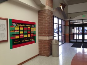 The kindness board on Coliseum Campus is near the east doors, by the Chancellor's office.
