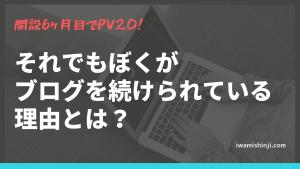 開設6ヶ月目でPV20!それでもぼくがブログを続けられている理由。