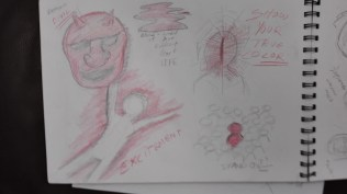Sketches representing the word red