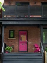 pink front door porch