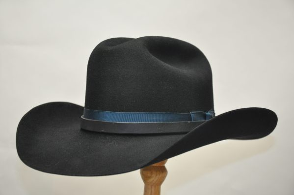 black cattleman hat with matching leather hatband and royal blue ribbon