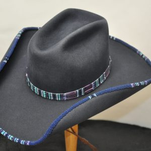 Navy Southwest special hat with hand beaded brim and hatband