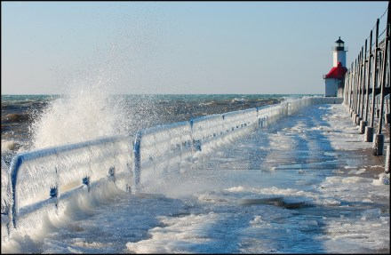 Lake Michigan's Famous Frozen Pier and Lighthouse 01