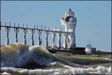 Lake Michigan's Famous Frozen Pier and Lighthouse 06