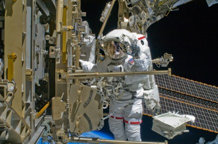 NASA astronaut Shane Kimbrough works outside the International Space Station in 2008