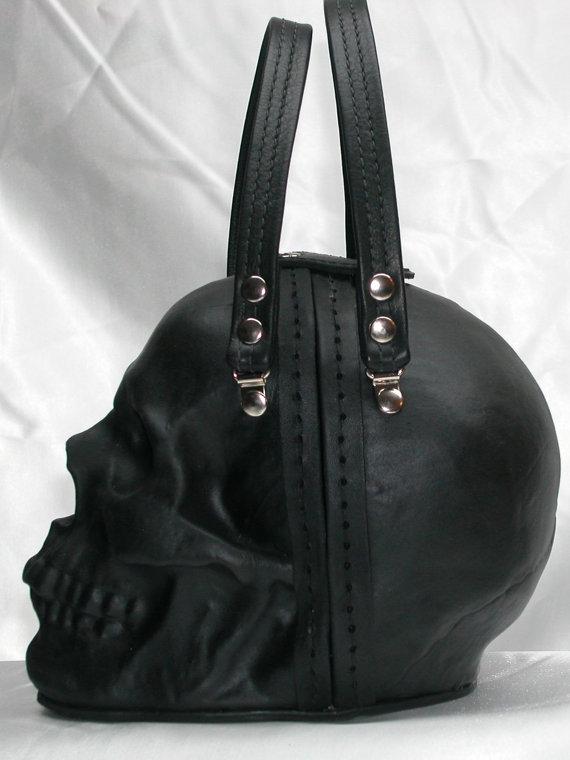 Black Leather Skull Purse  I Want It Black