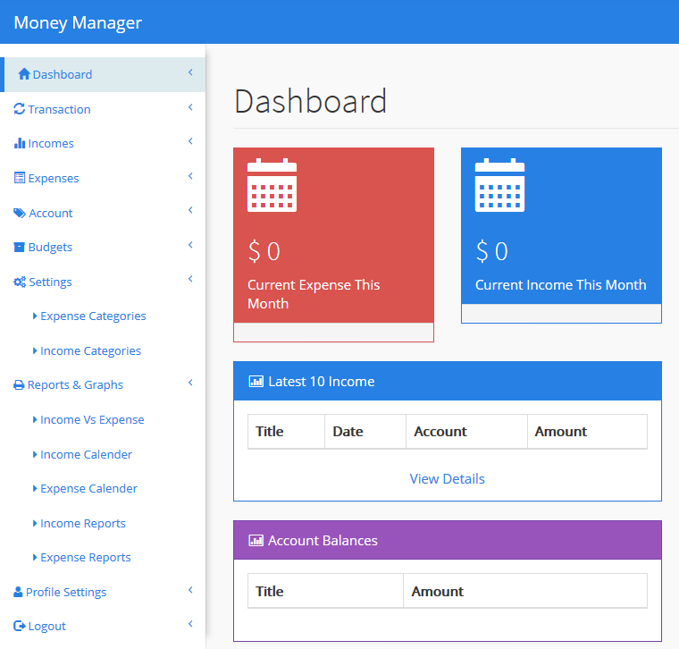 Money Tracker Manager PHP MYSQL Soure Code