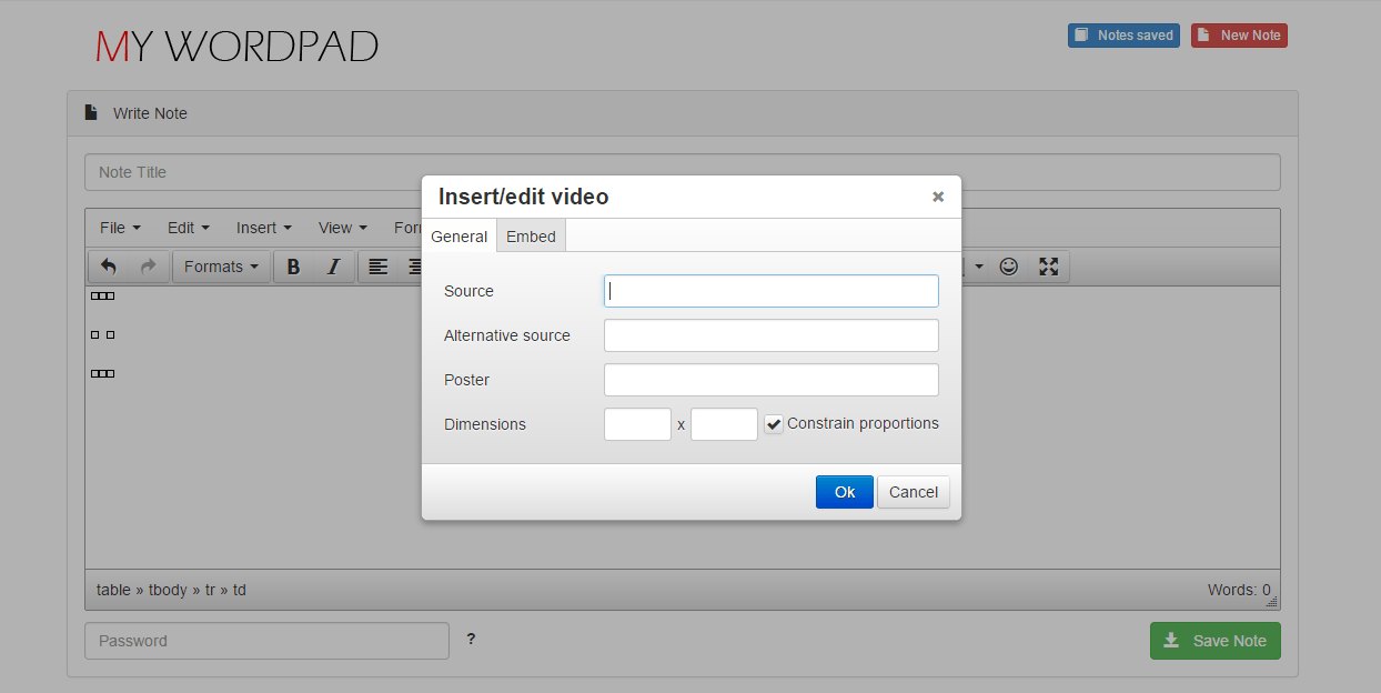 Online Wordpad PHP MySql Source Code