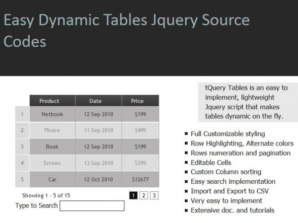 Easy Dynamic Tables jQuery Source Codes