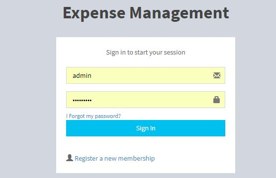 Expense Management PHP MySQL Source Code