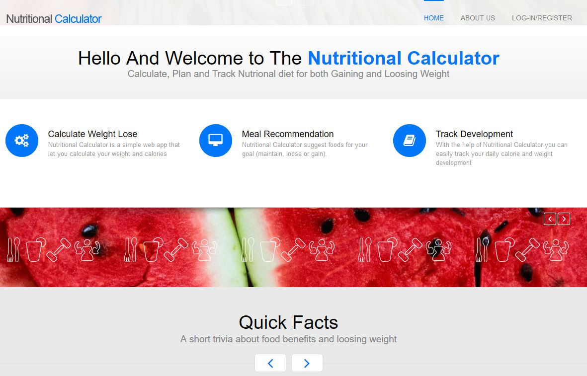Nutritional Calculator Homepage