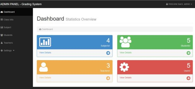 Online Grading And Viewing System PHP Mysql Source Codes Dashboard