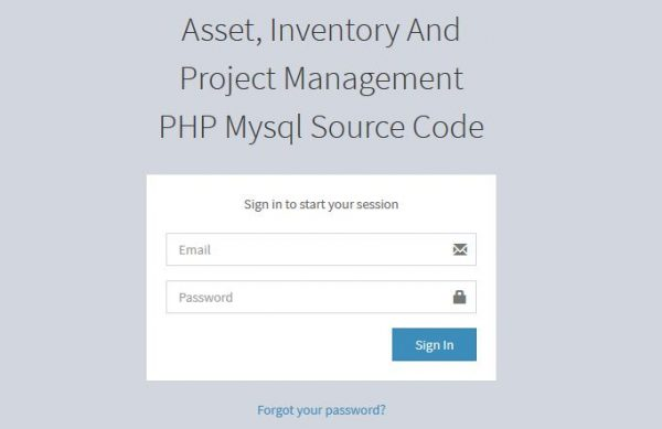 Asset, Inventory And Project Management PHP Mysql Source Code