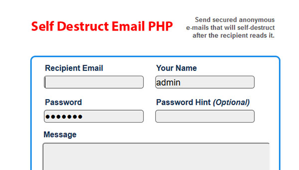 Self Destruct Email PHP Source Code