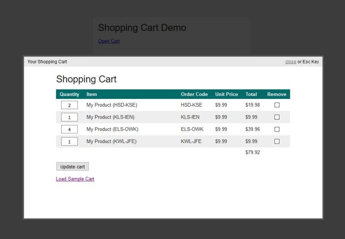 Shopping Cart Ajax PHP jQuery Source Code Dashboard