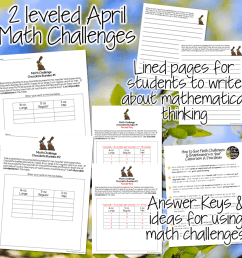 FREE for Spring! Chocolate Bunny Math Challenges - I Want to be a Super  Teacher [ 960 x 960 Pixel ]