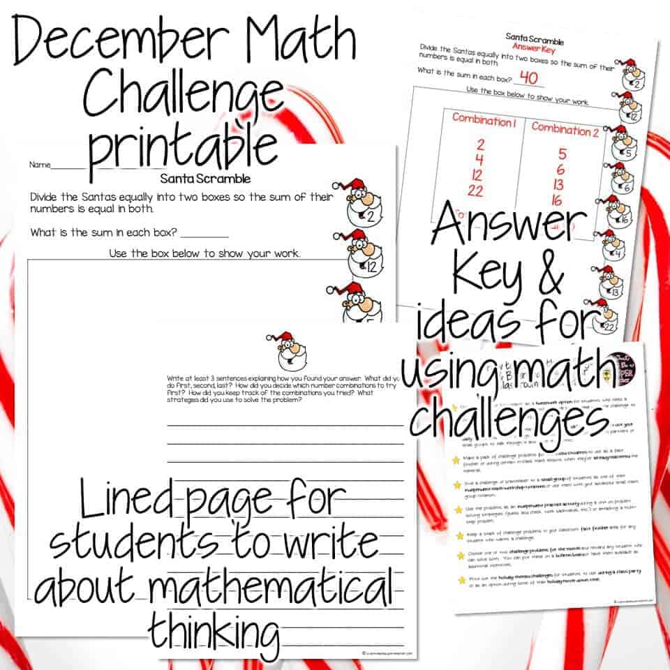 hight resolution of Santa Scramble Math Challenge: A Festive Freebie Download - I Want to be a  Super Teacher
