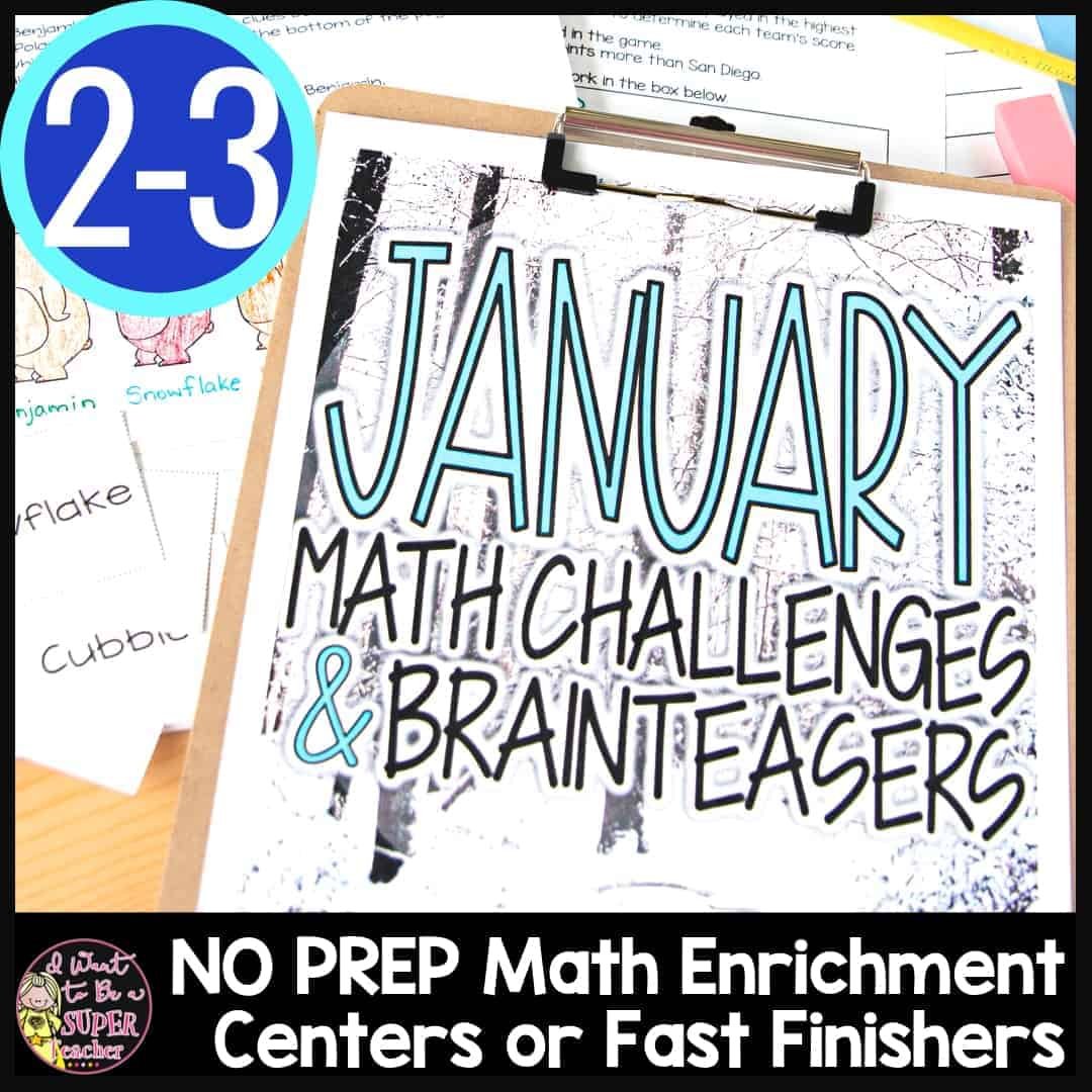 hight resolution of Winter Math Challenges and Brainteasers - I Want to be a Super Teacher