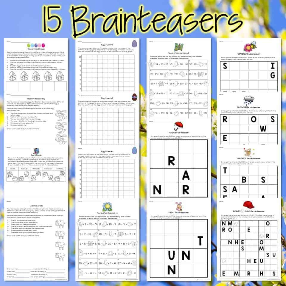 medium resolution of Easter Math Challenges \u0026 Brainteasers 2nd \u0026 3rd Grade Math Activities for  April - I Want to be a Super Teacher