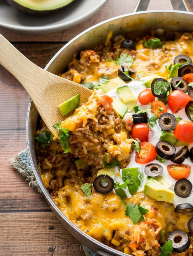 quick and easy dinner ideas, simple dinner ideas, one skillet mexican beef and rice