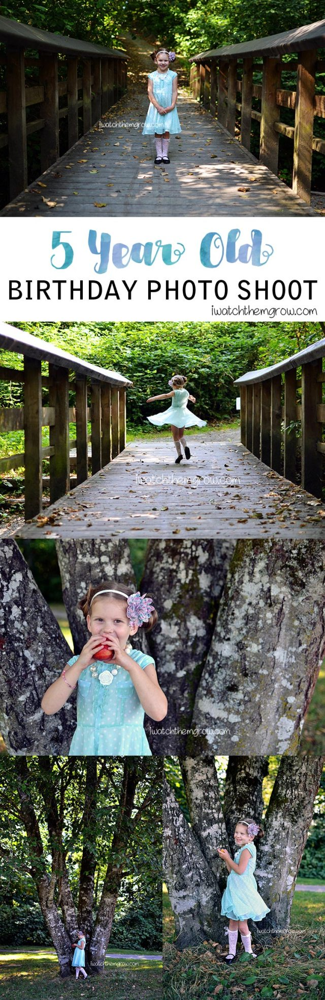 5 year old birthday photo shoot at the park in summer. Posing, clothing and accessory ideas for five year old girl photo shoot.