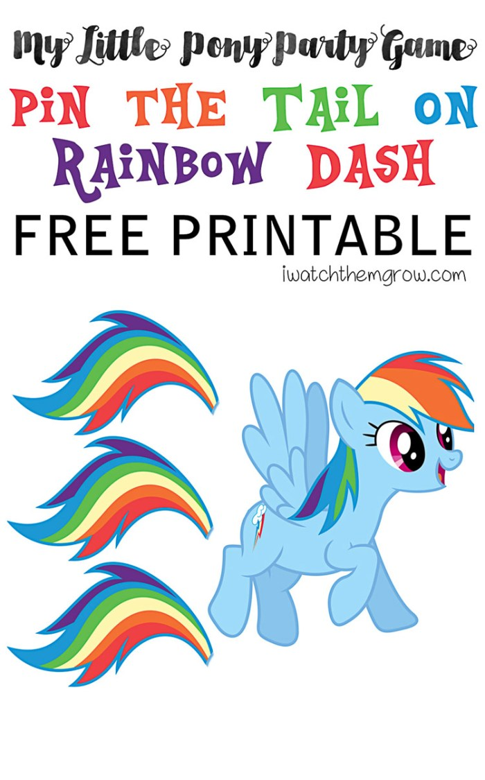 Pin the Tail on Rainbow Dash (Free Printable) - I Watch Them Grow