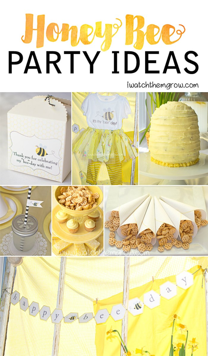 What a bee-utiful honey bee party! Lots of cute ideas for food and decorations., and adorable honey bee party printables!