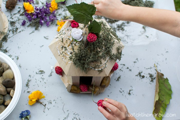 Decorate fairy houses (bird houses) for a fairy party activity!