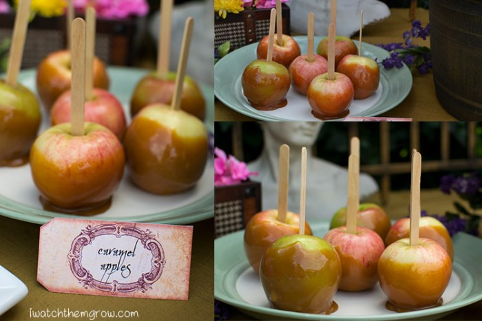Caramel apples are a great food idea for a garden fairy party, especially in the fall!