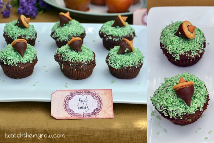 "Cute garden fairy cupcakes! Chocolate cupcake with green coconut ""grass"" and a chocolate acorn!"
